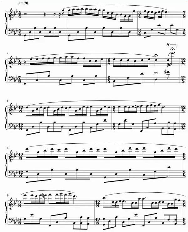 《梦中的婚礼》钢琴曲谱